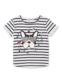 Multicoloured Striped Frenchie T-Shirt (3-14 years)