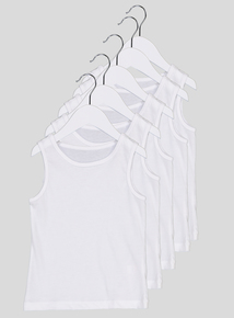 5 Pack White Plain Vests (18 months-12 years)