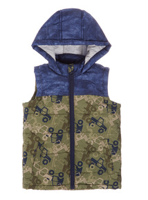 Boys Khaki Printed Quilted Gilet (9 months-6 years)
