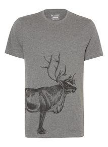 Grey Short Sleeve Reindeer Tee
