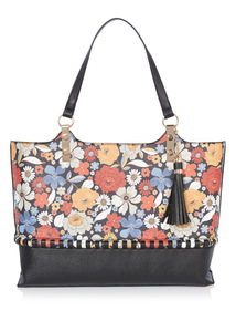 Multicoloured Floral Print Shopper Bag