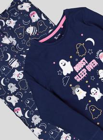 Navy 'Ghost Sleep Over' Pyjamas (3 -12 years)