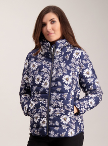 Navy Daisy Print Padded Jacket
