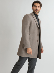 Premium Stone Slim Fit Overcoat