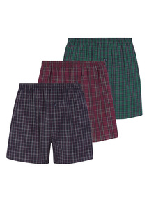 Multicoloured Tartan Check Boxers 3 Pack