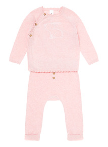 Pink Bunny Knitted Set (0-12 months)