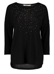 Black Diamante Knit Look Top