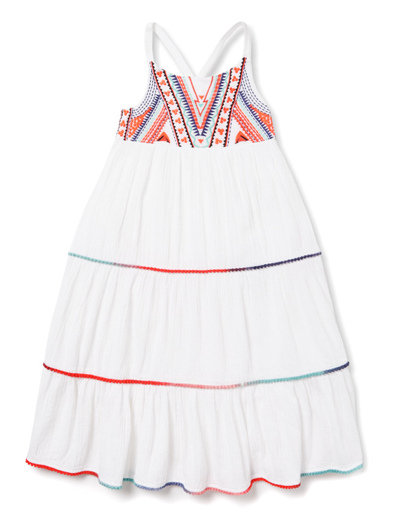 White Embroidered Yoke Maxi Dress (3-14 years)