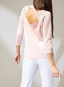 Premium Pink Lace Back Jumper