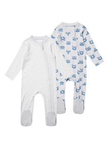 2 Pack Blue Sleepsuits (0-24 months)