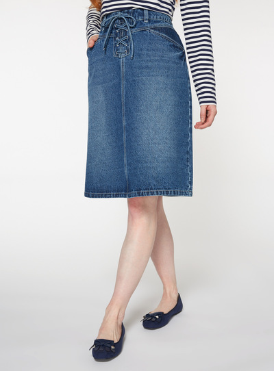 Denim Eyelet lace Up A Line Skirt