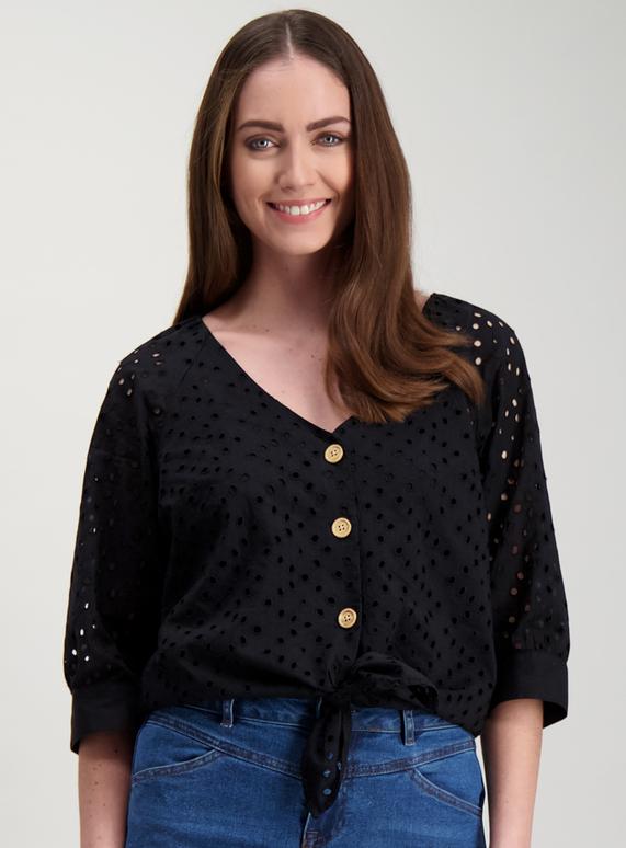 dedf7275a55 Womens Black Button-Through Boho Top | Tu clothing