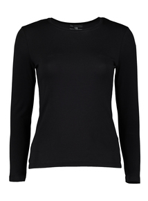 PETITE Online Exclusive Black Long Sleeve T-Shirt