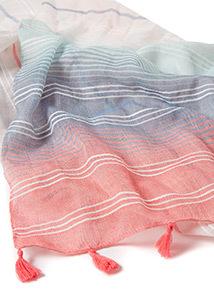 Ombre Stripe Print Scarf