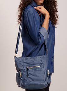 Blue Textured Cross Body Bag