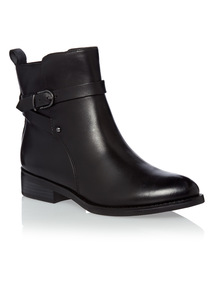 Black Leather Jodhpur Ankle Boots