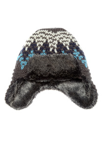 Grey Knitted Fur Lined Trapper Hat (2-12 years)