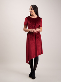 Dark Red Velvet Croc Knot Dress
