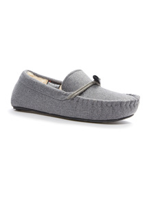 Grey Thinsulate Moccasin Slippers