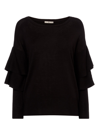 Black Tiered Sleeve Jumper