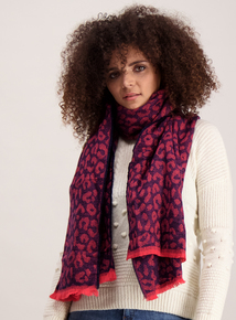 Navy and Pink Woven Animal Print Scarf