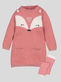 Pink Fox Knitted Dress & Tights (0-24 Months)