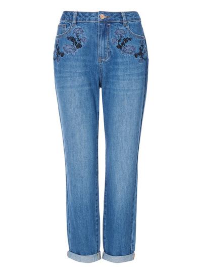 Mid Denim Distressed Boyfriend Jeans