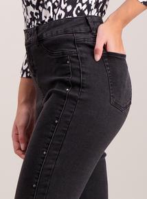 Black High Waist Side Stud Skinny Jeans