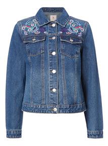 Mid Denim Embroidered Jacket