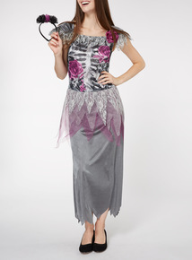Adult Grey Halloween Skeleton Bride Costume