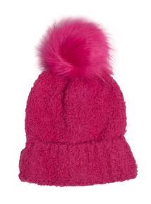 Cerise Pink Faux Fur Pom-Pom Beanie Hat