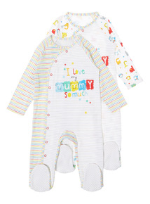 2 Pack Multicoloured Sleepsuit (0-24 months)