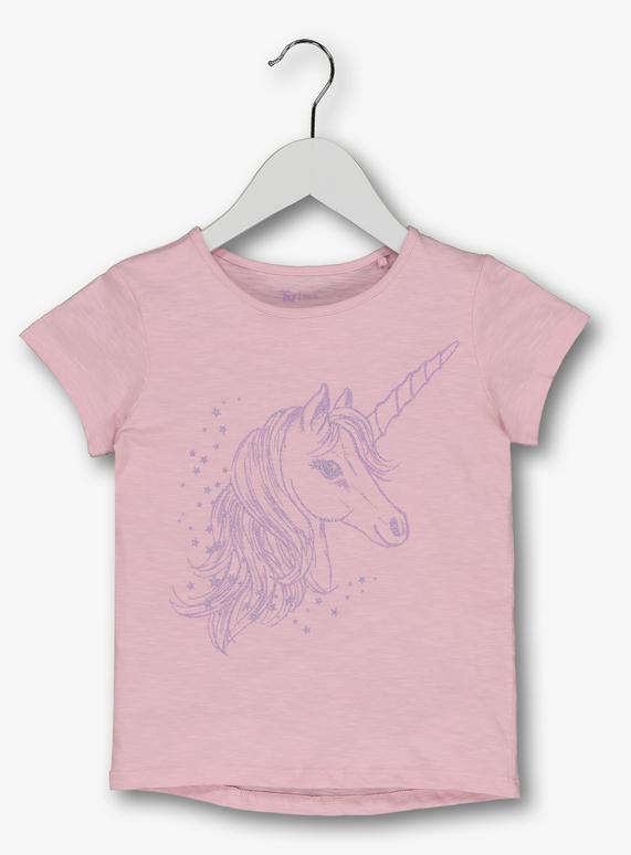 2dd100433 Kids Pink Glitter Unicorn T-Shirt (3 - 14 years) | Tu clothing