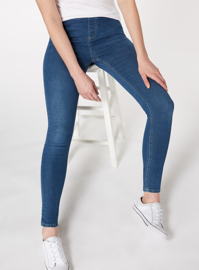 Mid Denim Elasticated Waist Jegging