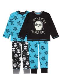 2 Pack Blue Skull Pyjamas (4-14 years)