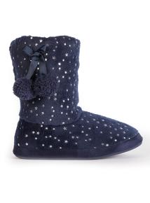 Navy Star Print Slipper Boots