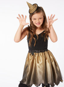 Gold Halloween Skirt and Headband (3-12 years)