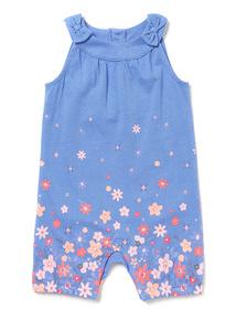 Blue Floral Print Jersey Romper (0-24 months)