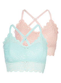2 Pack Pink and Turquoise Lace Swirl Bralets
