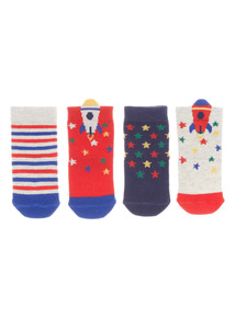 Multicoloured 4 Pack Catronauts Socks (1-24 months)