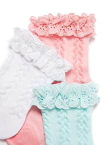 3 Pack Multicoloured Frill Socks (1-24 months)