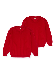 Unisex Red V-Neck Jumpers 2 Pack (3-12 years)