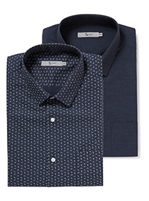 2 Pack Navy Floral Slim Fit Shirts