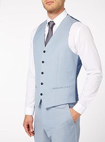 Light Blue Herringbone Waistcoat