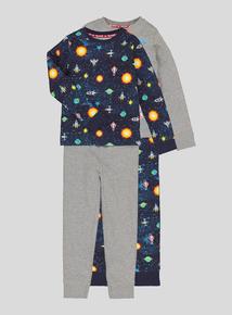 Multicoloured Long-Sleeved Pyjamas 2 Pack (18 Months - 12 Years)