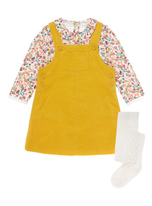 Multicoloured Pinny, Bodysuit & Tights Set (0-24 months)
