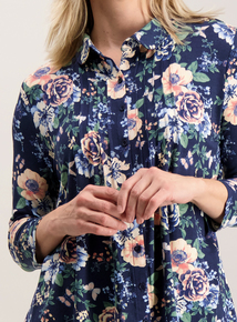 Navy Floral Pintuck Pleat Blouse