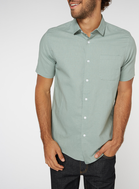 Green Linen Rich Regular Fit Shirt