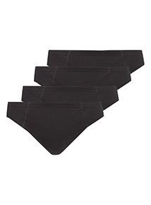 Black Plain Slip Briefs 4 Pack