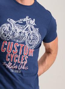 Blue Biker Print T-Shirt